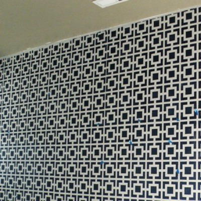 Stenciled pattern on the wall