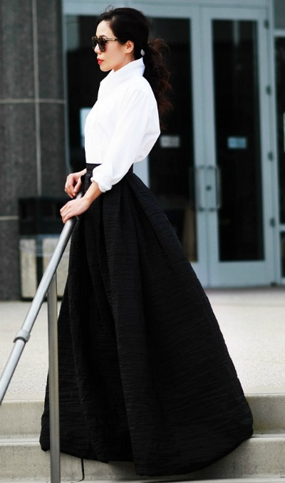 Button down shirt with a maxi skirt