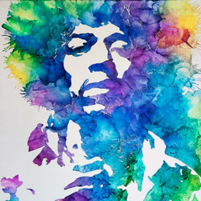 Jimi Hendrix melted crayon art tribute