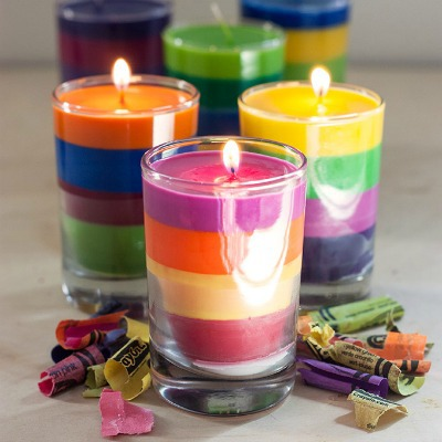 melted crayon wax candles
