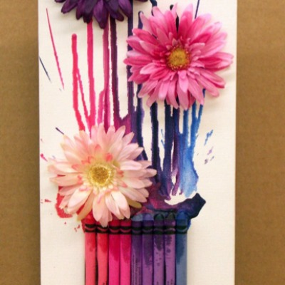 3D mixed media crayon wall art