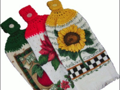 crochet-topped dishtowel