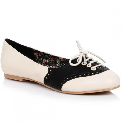 white and black retro oxford flats