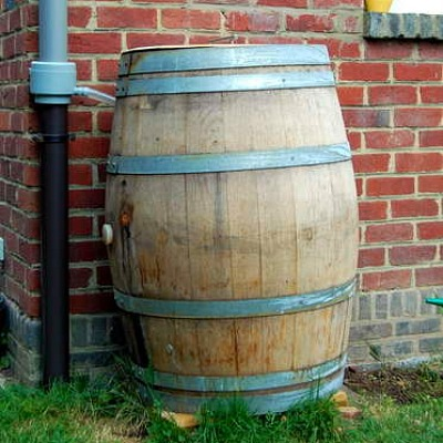 wood rain barrel