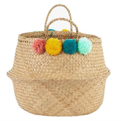 DIY woven basket with pom-poms