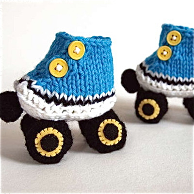 Knitted Roller Skate Baby Booties