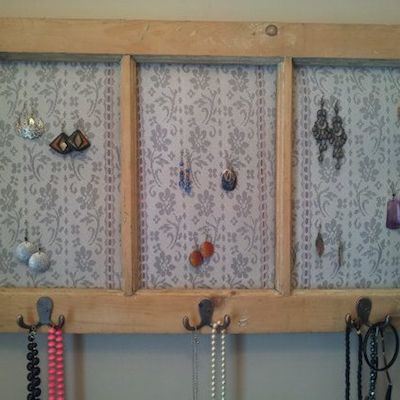turn an old window into a jewelry hanger