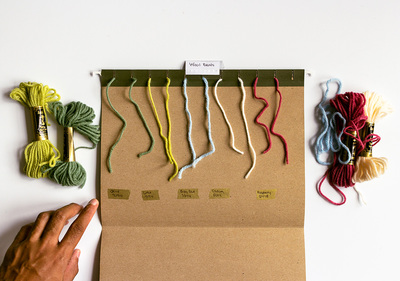 organize yarn swatches with folders