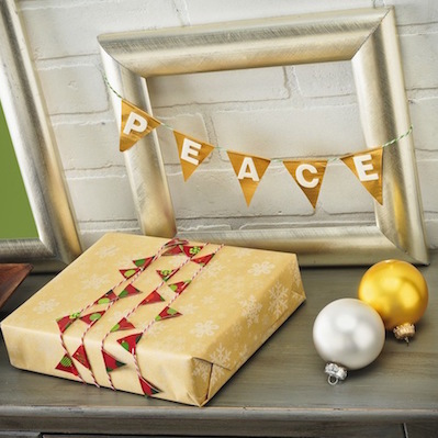 holiday garland and gift tag duct tape
