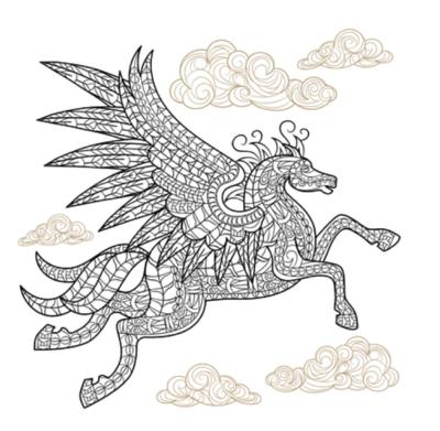 free pegasus coloring book page
