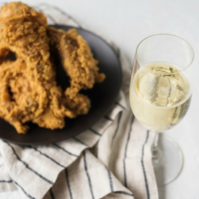 wine and fried chicken