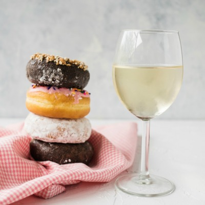 drinking wine with donuts