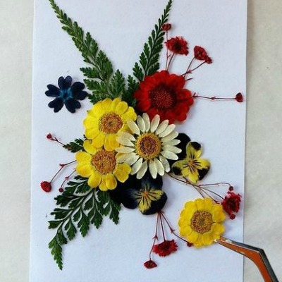pressed flowers with books