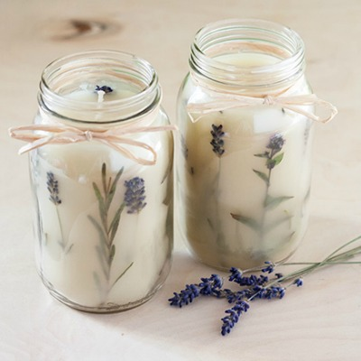 mason jar flower candles