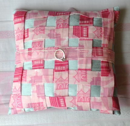 Pink Woven Wedding Ring Pillow