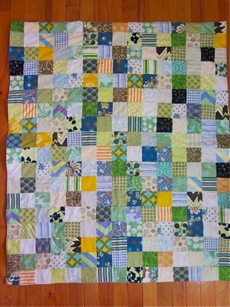Blue, green, yellow Patchwork Baby Quilt