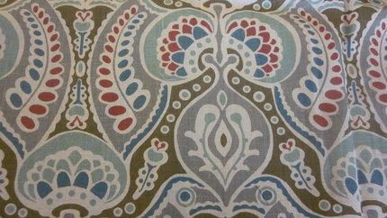 De-stash--Home Dec Linen Aqua, Grey, Tan, Red