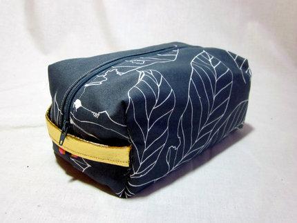 Grey Flowered Make Up Bag