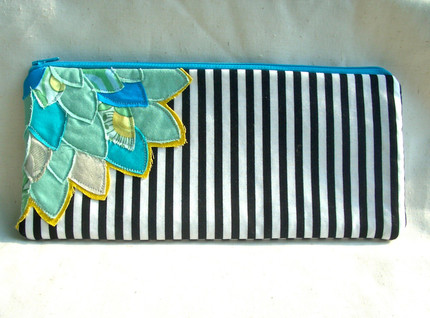 Striped Flower Pouch