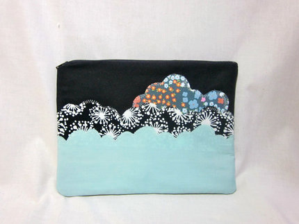 iPad Case-Black, Blue, Floral