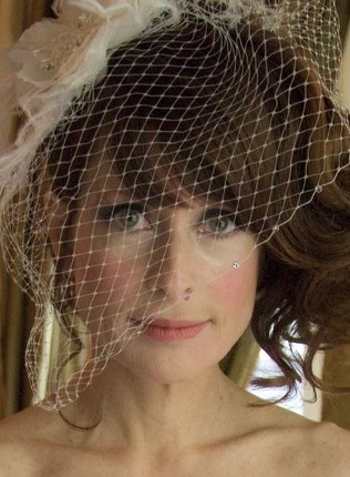 Dorabella - Ivory Russian Netting, Organza Flower, Ostrich Feather, and swarovski crystal Birdcage Veil