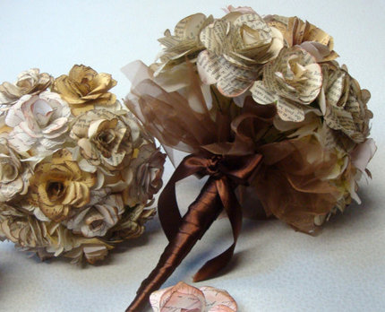 Custom Order - Paper Flower Wedding Bouquet, Rehearsal Bouquet, Toss Bouquet, Etc.
