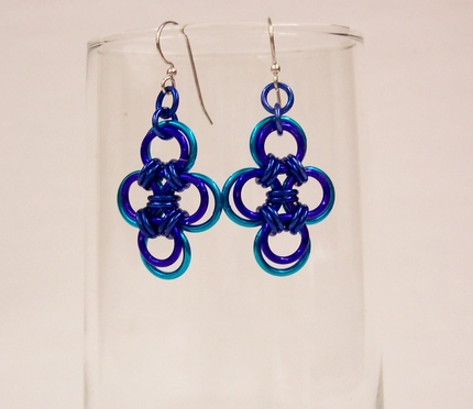 True Blue Japanese Cross Earrings