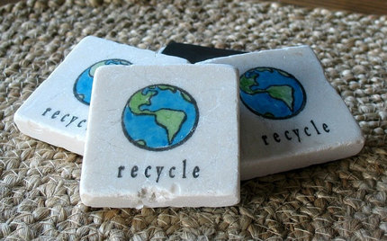 Recycle Tile Magnets, Set of 4 Magnets