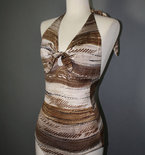 Vintage 1970s Brown and Cream Striped One Piece Bathing Suit