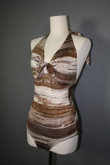 Vintage 1970s Brown And Cream Striped One Piece Bathing