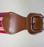 Vintage 1980s Leather and Pink Striped Fabric Wide Belt
