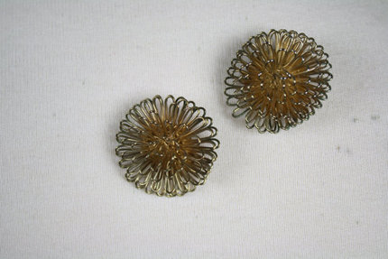 Vintage 1970s Bronze Starburst Earrings