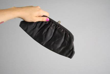 Vintage Black Satin Snap Clutch Purse 1960s