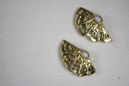 Vintage Gold Asian Inspired Fan Earrings