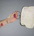 Vintage White Leather Chain Print Clutch Purse