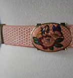 Vintage Pink Embroidered Floral Metal Clasp Belt