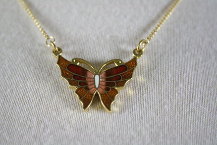 Vintage Small Butterfly Necklace 1970s