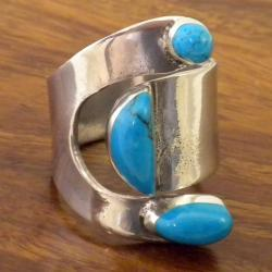Turquoise and Silver Wrap Ring