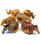 Mahogany Wood Animal Napkin Rings Set