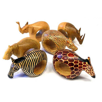 Mahogany Wood Animal Napkin Rings Set