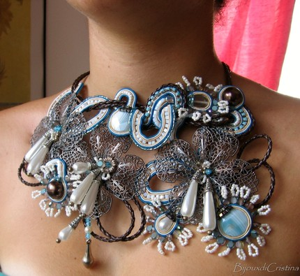 """Flowers"" Soutache Statement Necklace - Amazing Art Piece Handmade in Italy"