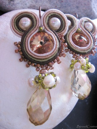 Handmade Italian Soutache Earrings with Swarovski Crystals