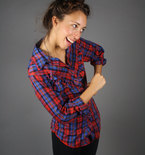 Vintage 1970s Western Plaid Top Small / Medium