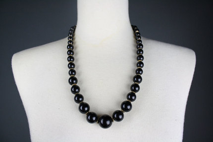 Vintage Black Beaded Necklace with Gold Accents 1970s