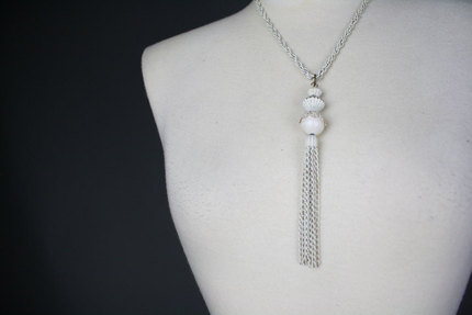 Vintage White Tassel Necklace 1960s