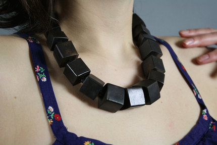 Vintage 1970s Brass Cube Necklace