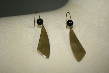 Vintage Gold and Black Dangle Earrings