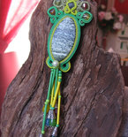 Handmade Italian Soutache Pendant Necklace with Stone Inlay