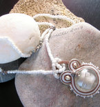 """White Silver"" Soutache Necklace - Handmade in Italy"