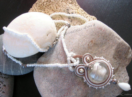 """""""White Silver"""" Soutache Necklace - Handmade in Italy"""